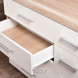 Wide Chest of 4+4 Drawers in White & Sonoma Oak Effect Bedroom Furniture 8 Draw