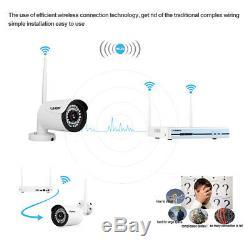 Wireless CCTV 1080P HDMI 4CH NVR Outdoor Camera Security System Kit IR Night 1TB