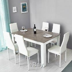 Wooden Dining Table Set with6 Faux Leather Chair Seat Kitchen Furniture Grey&White